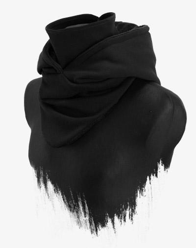 Hooded Loop schwarz black out kapuze schal kombination smorf scoodie loopschal mit kapuze Kapuzen Schal Manufaktur13