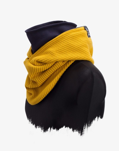 Hooded Loop Mustard Yellow Senfgelb Kapuzen Schal Manufaktur13