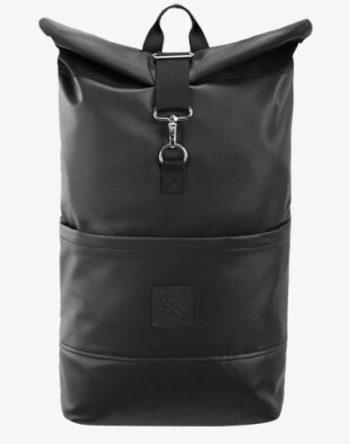 M13 RollTop - wasserdichter Roll Top Rucksack (20L) aus Kunstleder, Kurierrucksack mit Innenfach, wasserabweisendes Material, verstellbare Gurte (Manufaktur13) (Leather Black Out)