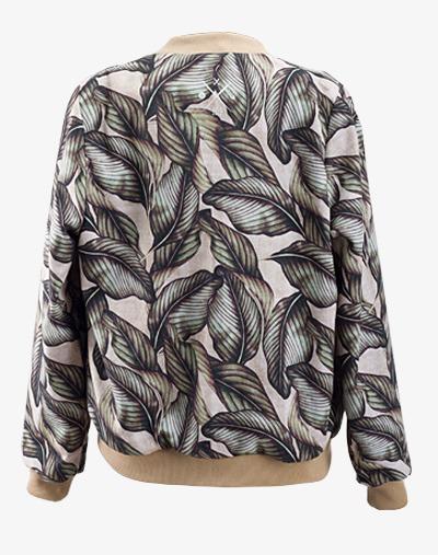 College Jacke Palm Leaf mit Palmenmuster Floral Üvergangsjacke Sommerjacke