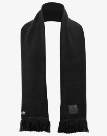 Knitted Long Scarf, Schwarz Lang Schal mit Fransen und 100% Echt-Lederveredelung