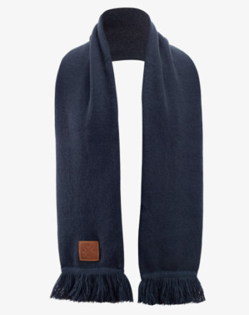 Knitted Long Scarf, Navy Lang Schal mit Fransen und 100% Echt-Lederveredelung