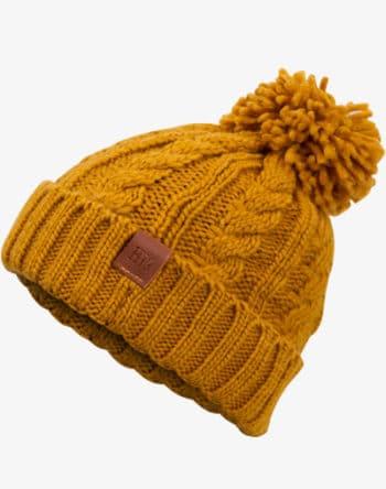 Rough Knit Beanie - Wintermütze, Strickmütze, Bommelmütze mit Leder Patch, Mütze für Herren & Damen (Manufaktur13/M13)