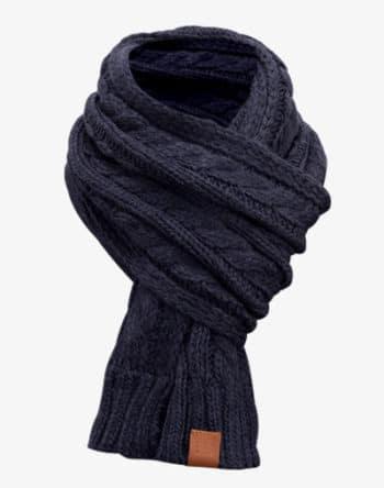 Rough Knit Scarf - Strickschal, Langschal, gestrickt mit Echt-Leder Veredelung, Schal mit Cableknit Muster (Manufaktur13/M13)