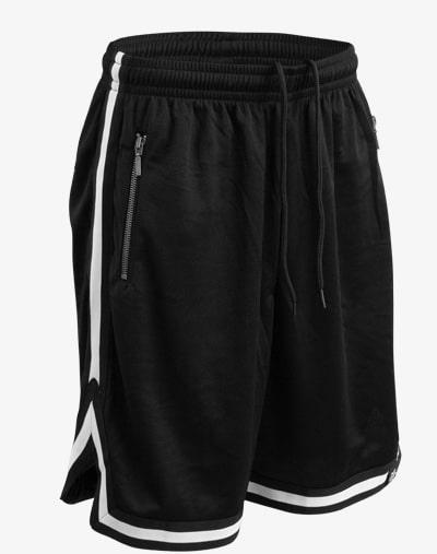 M13 Taped Mesh Shorts - Kurze Hose, 130er Mesh, Basketball Shorts, Sporthose, Trainingshose kurz, Schwarz mit weißen Streifen