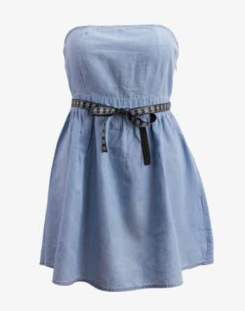 M13 Denim Dress - Blue Denim, Sommerkleid Blue Jeans trägerlos schulterfrei