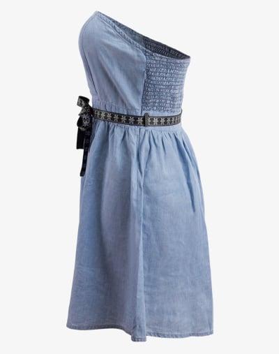 M13 Denim Dress - Blue Denim, Sommerkleid Blue Jeans trägerlos schulterfrei