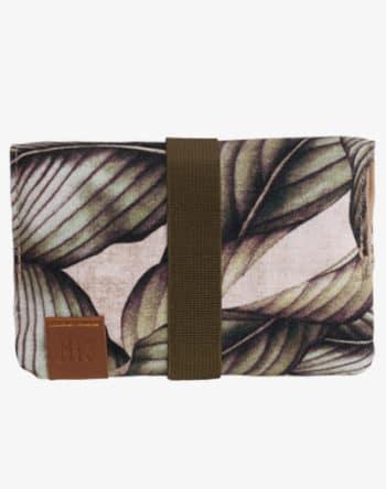 Tabaktasche Dreherbeutel Drehbeutel aus Stoff 100% Baumwolle Canvas palm leaf palmen blumenmuster floral grün khaki olive leder