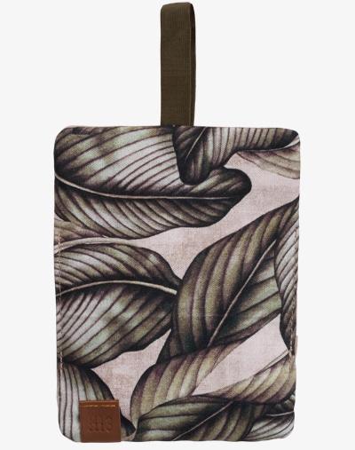 Tabaktasche Dreherbeutel Drehbeutel aus Stoff 100% Baumwolle Canvas palm leaf palmen blumenmuster floral grün khaki olive