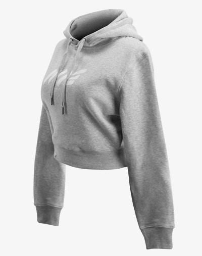 crop hoodie Cropped Hoodie Damen bauchfrei kurz crop cut heather grau meliert melange hellgrau