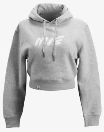 crop hoodie Cropped Hoodie Damen bauchfrei kurz crop cut heather grau meliert melange hellgrau