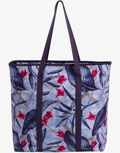 Blue Palm 2 Shopper Umhängetasche Henkeltasche Tragetasche für Frauen Damen Mädchen blau floral flower blumen blumenmuster