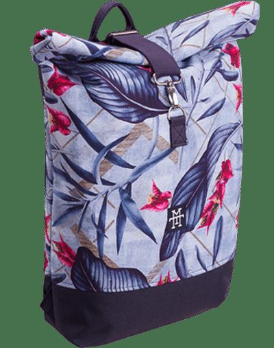 Roll Top Rucksack / Backpack / Kurierrucksack Blue Palm 2 blau blumenmuster palmen floral flower