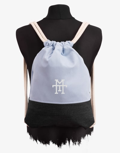 M13 Kids Sports Bag Sportbeutel Turnbeutel Kinder Gym Bag Blue Denim Jeans blau