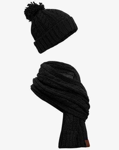 Knit Winter Set Schal Strickschal Beanie Bommelmütze
