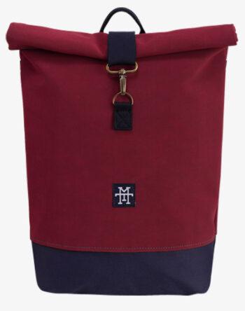 Roll-Top Backpack Rucksack Rollrucksack mit Rollverschluss zum rollen Fahradrucksack kurierrucksack großer groß vegan bordeaux vino weinrot rot blau navy