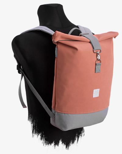 Lachs rosa Roll-Top Backpack Rucksack Rollrucksack mit Rollverschluss zum rollen Fahradrucksack kurierrucksack großer groß kunstleder vegan
