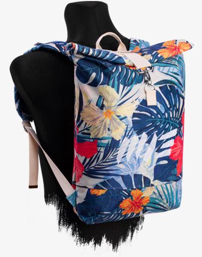 Roll-Top Backpack Rucksack Rollrucksack mit Rollverschluss zum rollen Fahradrucksack kurierrucksack großer groß vegan palmen blätter blumen blumenmuster muster floral pattern
