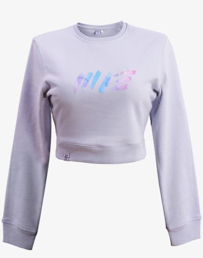 crop sweater Cropped sweatshirt jumper Damen bauchfrei kurz crop cut babyblue blau blue babyblau hellblau
