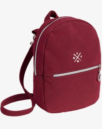 vino bordeaux Mini Daypack kleiner Rucksack klein Backpack reißverschluss Kunstleder vegan