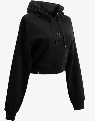 schwarz black out teddy teddybär flauschig fell crop hoodie Cropped Hoodie Damen bauchfrei kurz crop cut