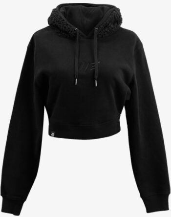 schwarz black out teddy teddybär flauschig fell crop hoodie Cropped Hoodie Damen bauchfrei kurz crop cut