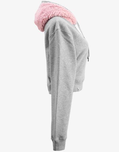 grau teddy teddybär flauschig fell crop hoodie Cropped Hoodie Damen bauchfrei kurz crop cut rosa rose pink