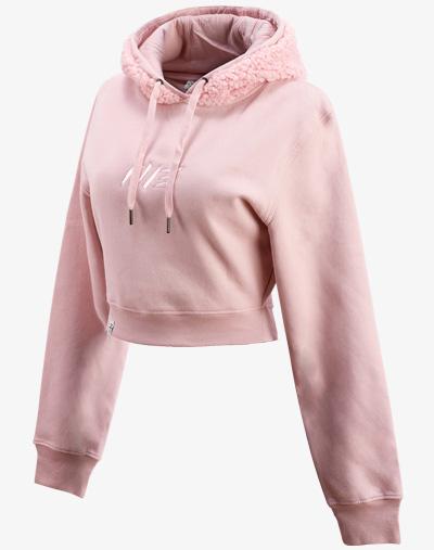 teddy teddybär flauschig fell crop hoodie Cropped Hoodie Damen bauchfrei kurz crop cut rosa rose pink