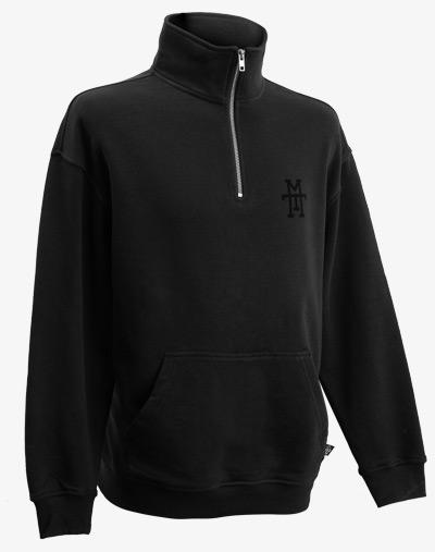 Halfzip 1/4 Zip Half Zip Troyer Pullover Sweatshirt schwarz black out Reißverschluss