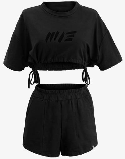 Crop Cropped Cut Bolero Set Shorts Top T-Shirt Schwarz Black Out blackout damen frauen
