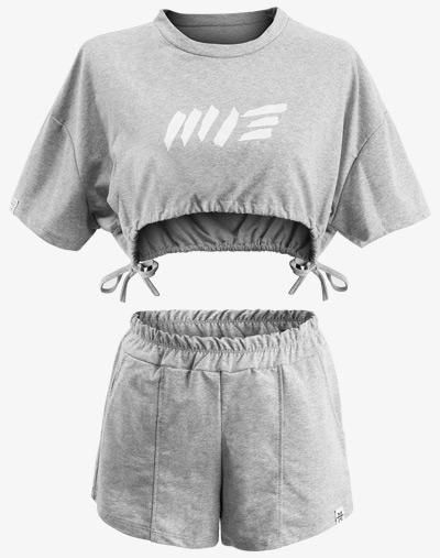 Crop Cropped Cut Bolero Set Shorts Top T-Shirt Heather grau damen frauen
